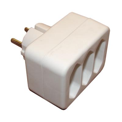 power socket adapter schuko male 3xeu cee 7 female. Black Bedroom Furniture Sets. Home Design Ideas