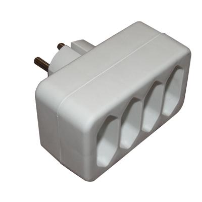 power socket adapter schuko male 4xeu cee 7 female. Black Bedroom Furniture Sets. Home Design Ideas