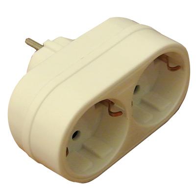 power socket adapter schuko male 2xschuko female. Black Bedroom Furniture Sets. Home Design Ideas