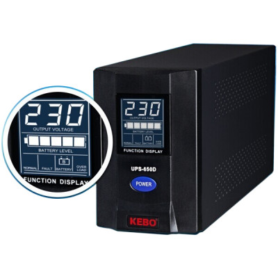 UPS-650D-BK, 220VAC/3A, 400W, LCD дисплей, RS-232