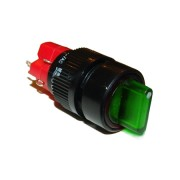 Image of Illuminated Rotary Switch M16, OD:18 mm, ON-OFF, 5A/250V, 2A/24V, 250V GREEN