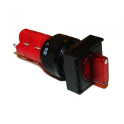 Image of Illuminated Rotary Switch M16, 18x18 mm, 2xON-OFF, 5A/250V, 2A/24V, 12V RED