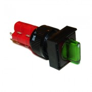 Image of Illuminated Rotary Switch M16, 18x18 mm, 2xON-OFF, 5A/250V, 2A/24V, 12V GREEN