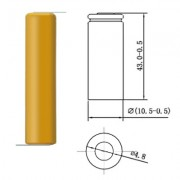 Image of Battery Cell AAA 1.2V, 350 mAh, Ni-CD (leads)